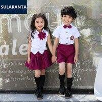 Los niños Lindos Del Algodón Coreano Japonés Uniforme Escolar Del Estudiante para Niñas niños Kid Collar Shirt Top Cortocircuitos de La Falda Plisada Ropa Empate