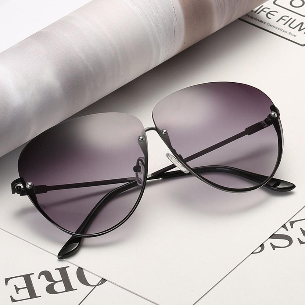 Rimless Cat Eye Women Sunglasses Transparent Fashion Brand Designer Sunglasses Lady Clearly Large Metal Frame UV400 11