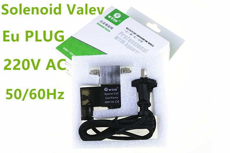Eu PLUG 220V AC  New Aquarium Plants CO2 Magnetic Valve Solenoid Valve Use For Night Time Cut Off Fish Tank 5 Color  Regulator