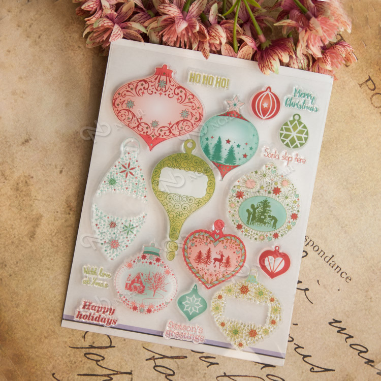 Colorful Christmas hot air balloon Scrapbook DIY photo cards account rubber stamp clear stamp seal kid transparent silicone gift scrapbook diy photo album card hand account rubber seal product seal transparent seal stamp cat