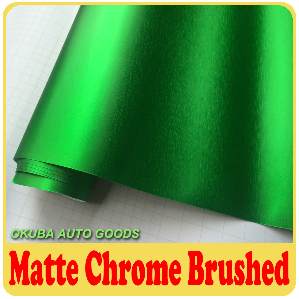 Nouveauté haute qualité vert mat Chrome brossé aluminium vinyle métal housse de voiture en vinyle Film autocollant voiture décalcomanies taille 1.52*20 m