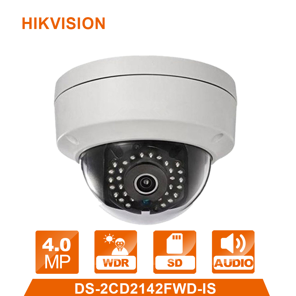 HIK IP Camera DS-2CD2142FWD-IS 4MP PoE Outdoor Dome Security Camera Built-in Micro Card Slot & Alarm I/O Replace DS-2CD2145F-IS 10pcs lot multi language hik ip camera ds 2cd2345 i replace ds 2cd2335 i 4mp poe 1080p ir night vision cctv security ip camera
