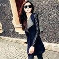2016 Новая Мода Зима Теплая Женщины Дамы Большой Нагрудные Воротник Пальто Длинный Кожаный Рукав Куртки Парка Траншеи женской Одежды