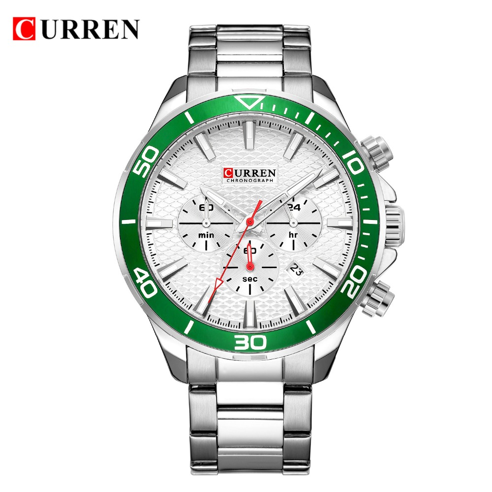Men's Fashion Wrist Watches Chronograph Watches Stainless Steel Band For Man Luxury Brand CURREN Water Resistant Quartz Relojes