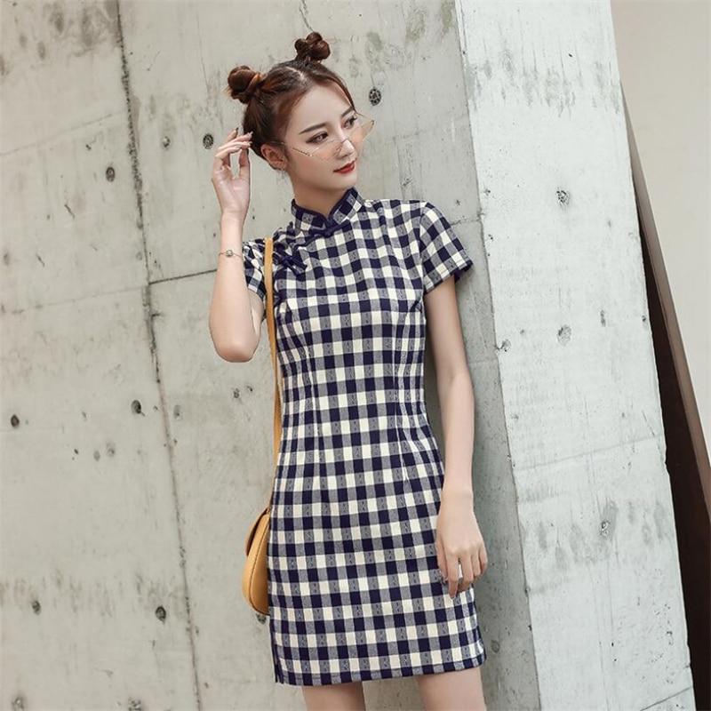 2019 Womens Vintage cheongsam modified chinese plaid qipao dress ladies retro qi pao modern clothing cotton and linen robe