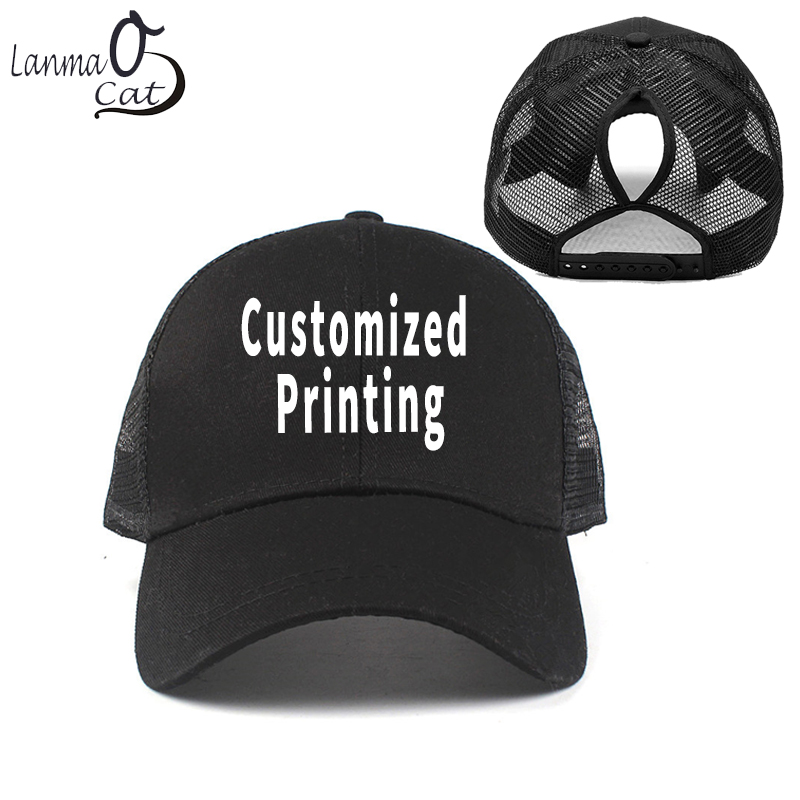 21cc94deabc71 Lanmaocat Female Mesh Snapback Cap Custom Print Women Baseball Cap with  Hole DIY Customized Hat Hole
