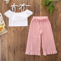 New Baby Girl Lady Suit White Bandage Jacket Increase Pink Colour Trousers Kids Girls Clothes Children