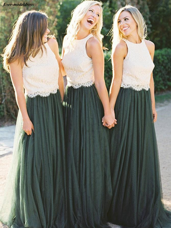Long   Bridesmaids     Dresses   2019 Ivory Lace Dark Green Bottom A-Line Floor Length Zipper Wedding Guest Party Gowns Vestidos Cheap