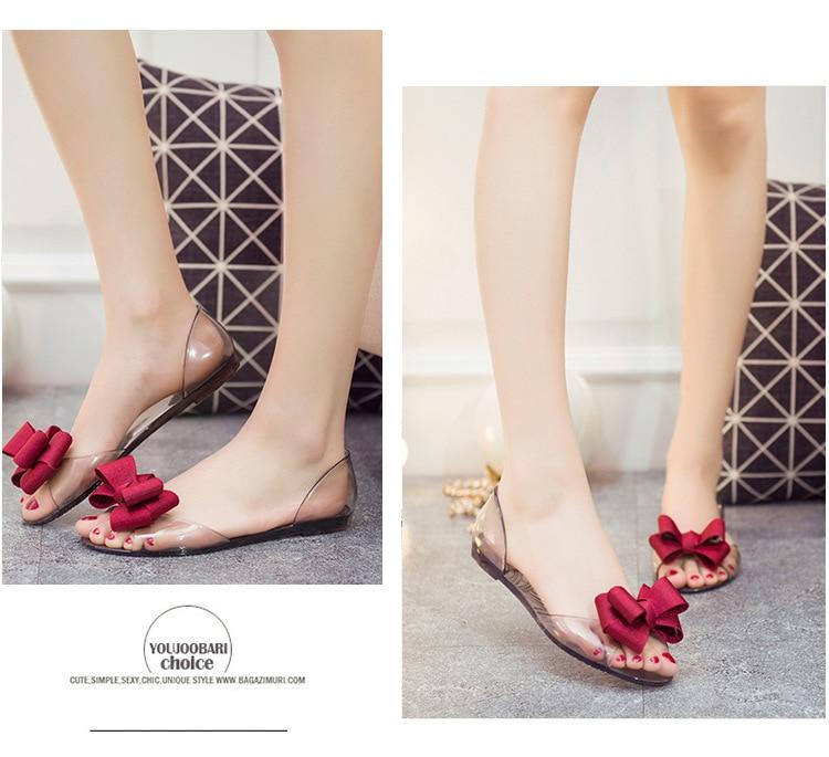 HTB1lQJpadzvK1RkSnfoq6zMwVXaG Women Sandals Open Toe Summer Jelly Shoes Woman Fashion Butterfly-knot Flat Sandals Women Beach Shoes Slip On Flip Flops WSH3149