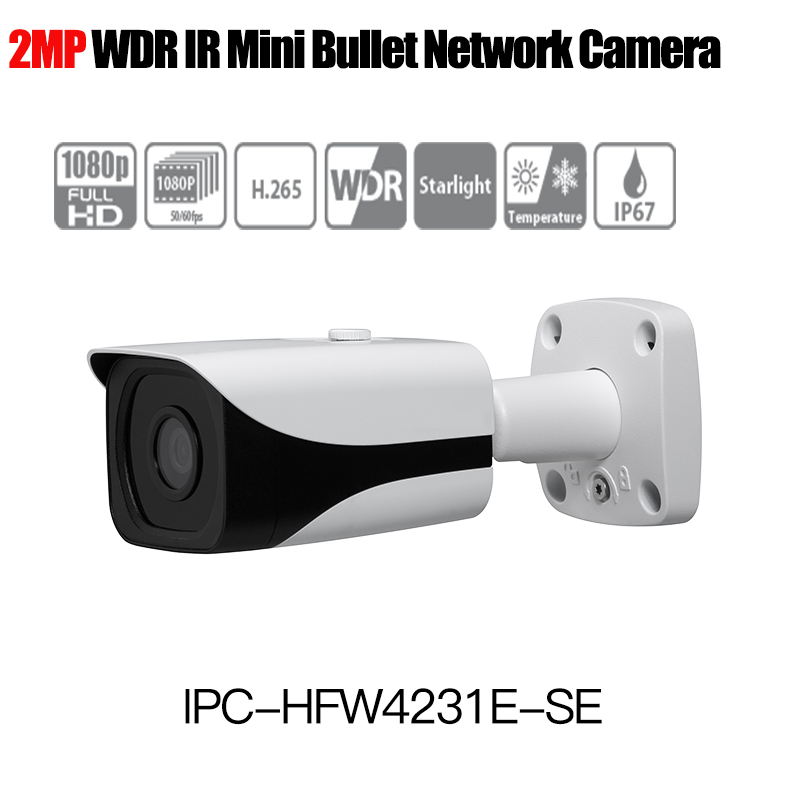 Dahua H.265 1080P IP Camera IPC-HFW4231E-SE Starlight WDR IR Mini Bullet Network Camera outdoor ip camera replace IPC-HFW4231E-S free shipping dahua security outdoor camera 2mp wdr ir mini bullet network camera ip67 with poe without logo ipc hfw4231e se