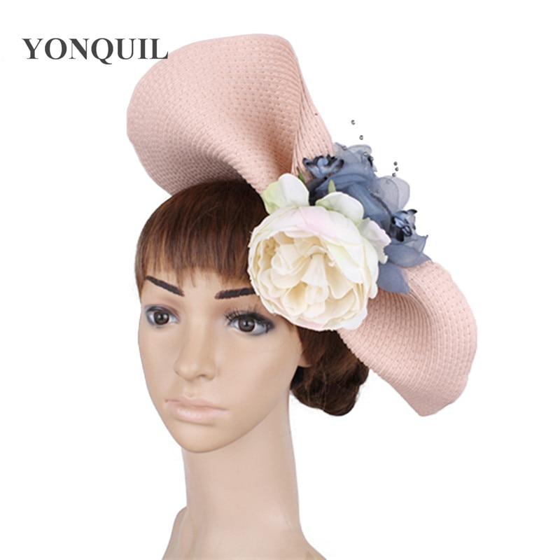 Bridal veils hats church fascinator headbands light pink wedding hair  accessories royal fedora race event floral headwear SYF453 3f1fee71f60