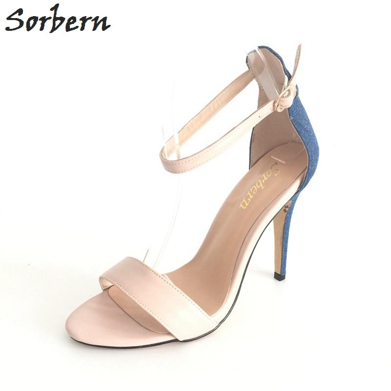 Sexy mujeres desnudas sandalias estilo simple cubierta de mezclilla - Zapatos de mujer