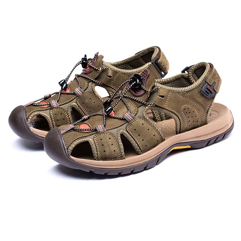 Unibody Toe Cap Men Sandals Casual Male Toe Sandals Leather Breathable Male Outside/indoor Leisure Man Sandals Men Shoes