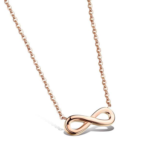 Simple Rose Color Infinity Symbol Necklaces For Women Hot Stainless