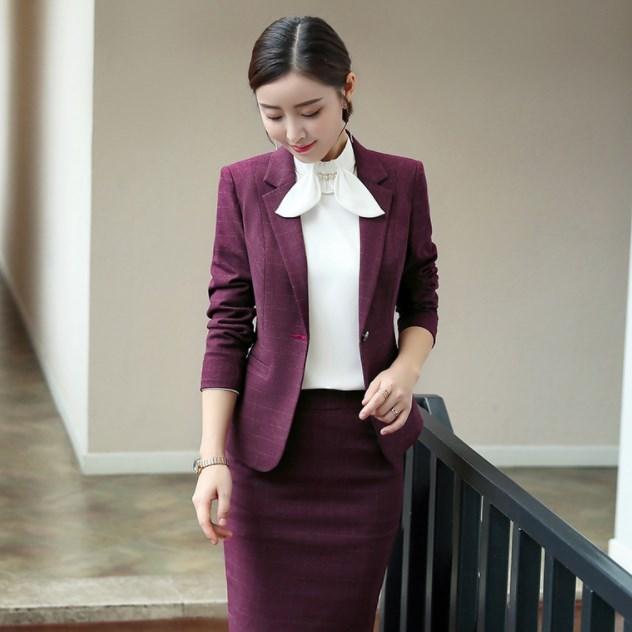 Stylish Black Blue Burgundy Plaid Pant Suits Women Office Lady Business Work Pants Blazer Set Jacket Trousers Female Clothing
