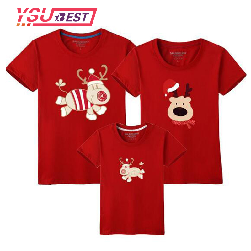 2018 Christmas Family Matching Clothes Mother Daughter T-shirt Son Outfits Short Sleeve T-shirt Family Look Father Baby Clothing new christmas family look family matching outfits t shirt color milu deer matching family clothes mother baby long sleeve cc527