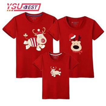 2018 Navidad Familia Juego Ropa Madre Hija Camiseta Hijo Trajes De