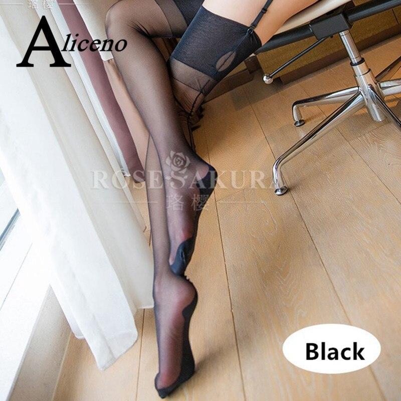 Полностью Модные женские чулки с замочным отверстием, ретро кубинские каблуки, Черные Полосатые чулки, прозрачные шелковые длинные гольфы ...
