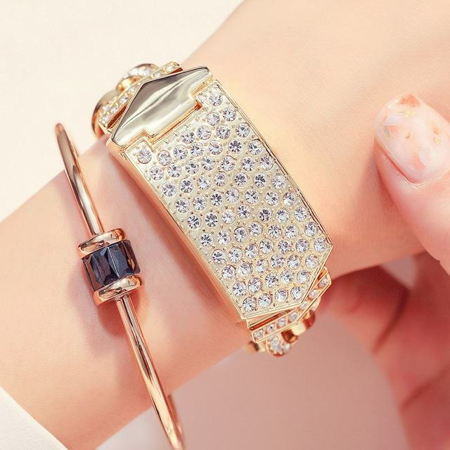 G&D Top Brand Gold Women Bracelet Watch Luxury Alloy Quartz Watches Gold/Silver