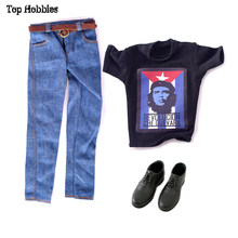 "1/6 Scale ZY Toys Male/Man Black Printing ""Revolucion Che Guevara"" T-Shirt & Jeans w/Belt #B Shoes Clothing Suit TB84-21 12 Inch(China)"