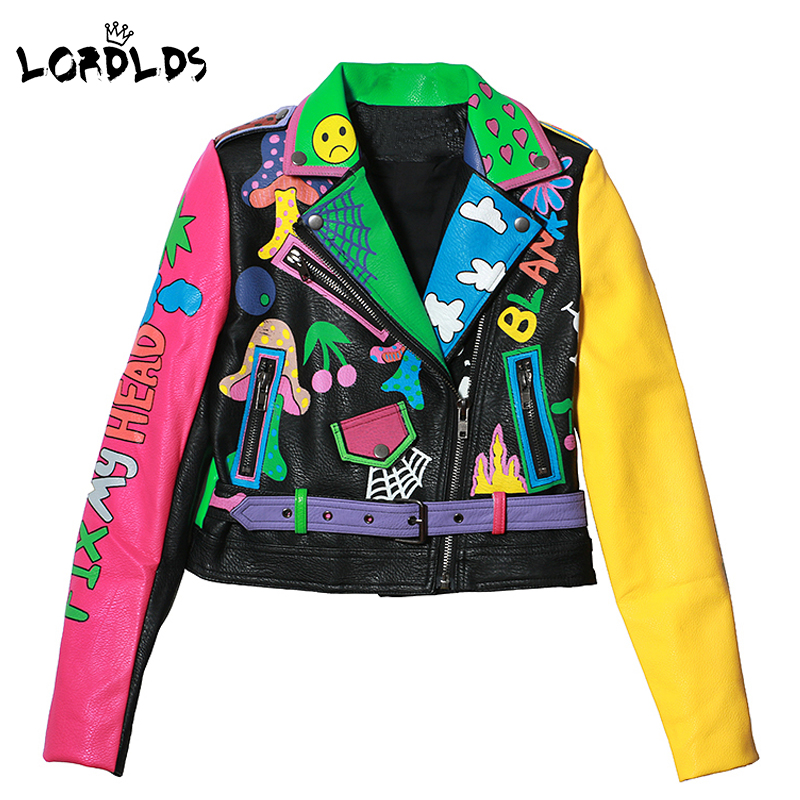 LORDLDS Jacket Motorcycle-Coat Sleeve Street-Short Zipper Print Colorful Women New-Fashion