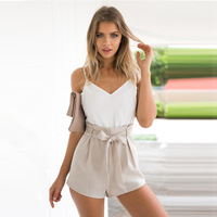 YEMUSEED Summer 2017 White Elegant Jumpsuit Romper Women Bow One Piece Casual Playsuit Sexy Backless Short