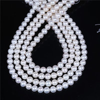 DIY AAA Wholesale White Freshwater Potato Near Round Oval Pearl 8 9mm Loose Beads 16'' For Jewelry Making