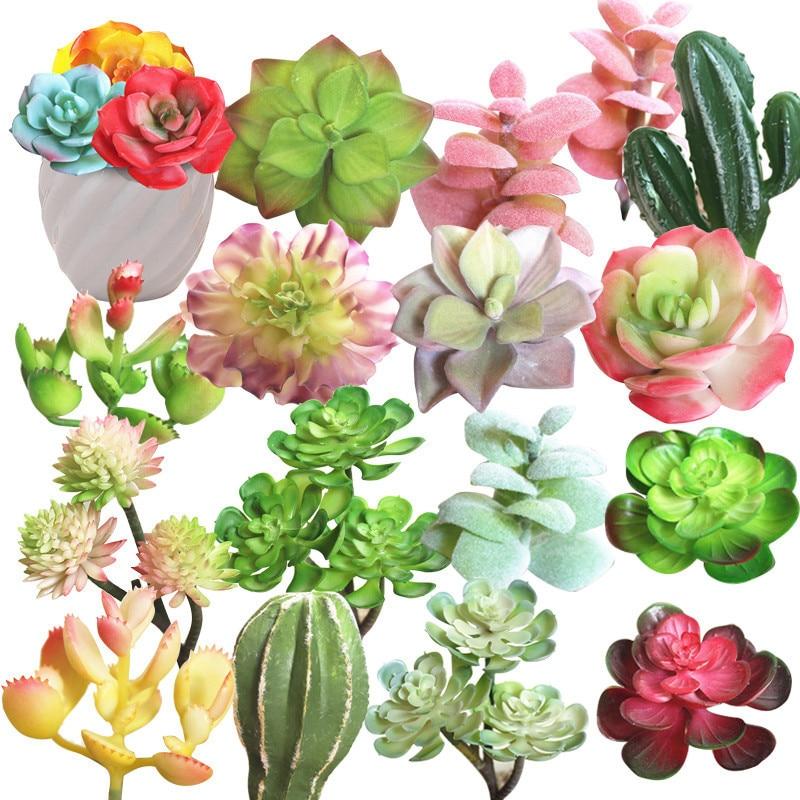 Tiny Decorative Artificial Succulent Plants Lotus Landscape Flower Mini Green Fake Plants Home Garden Arrangement Decor