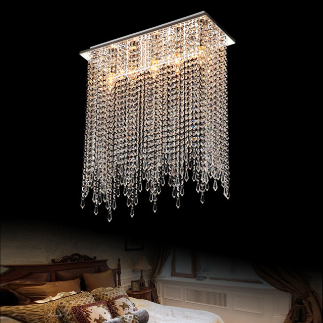 Moderne Deckenleuchte Schlafzimmer Lampe Moderne Kurze Kristall Lampen  Hängen Deckenleuchten Führte Kreis Lampen Rechteck Oberfläche Montiert