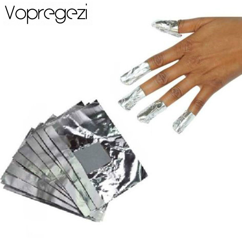 Vopregezi 100pcs Nail Polish Remover Aluminium Foil for Removing Gel Varnish Design for Nails Cleaner Nail Removal Beauty Tools