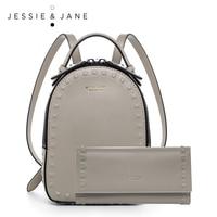 JESSIE JANE Women S Fashion Rivet Design Delicate Split Leather Backpack 1825 Gray