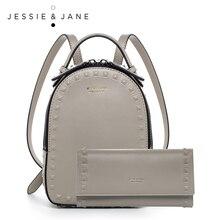 JESSIE & JANE Damenmode Niet Design Empfindliche Split Leder Rucksack Composite-taschen 1825 + 5461