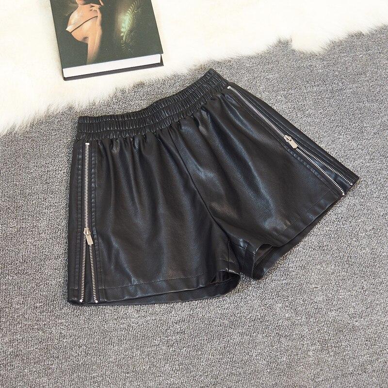 Women Autumn Winter PU Leather Shorts Elastic High Waist Loose Shortpants Plus Size Woman Shorts Wide leg Outerwear Shorts S-2XL