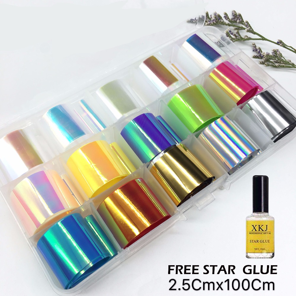 Beauty & Health 2.5*100cm Holographic Nail Foil Set Transparent Christmas Laser Series Transfer Sticker Manicure Nail Art Decals