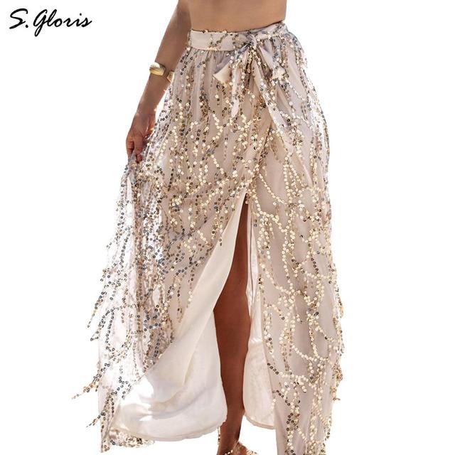 M.H.Artemis Sequin Tassel Mesh Maxi Skirt Hi-lo Women Elegant Beach Summer Skirts 2016 Boho Long Skirts 2016 Summer Beachwear