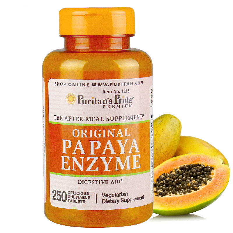 Papaya Enzyme 250 Pcs Vegetarian Dietary Supplement Free Shipping dietary addition of zinc sulphate