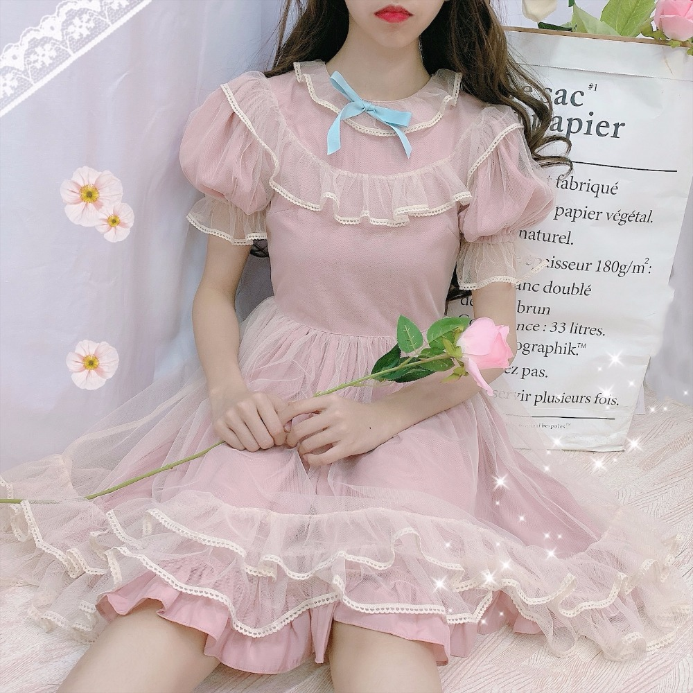 Mori fille douce Lolita dentelle maille fée Kawaii volant manches bouffantes poupée robe femmes taille haute arcs à manches courtes robe de princesse