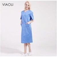 Viaoli2017 Nuovo Chirurgia Polvere Lavanderia Set Abbigliamento Chirurgico Medico Infermiera Uniforme Ospedale Medico Abbigliamento Scrub Blu Bianco