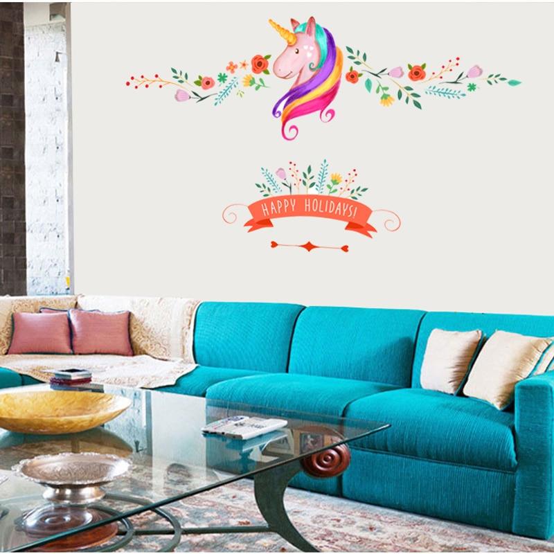 πολύχρωμα λουλούδια floral μονόκερος - Διακόσμηση σπιτιού - Φωτογραφία 3