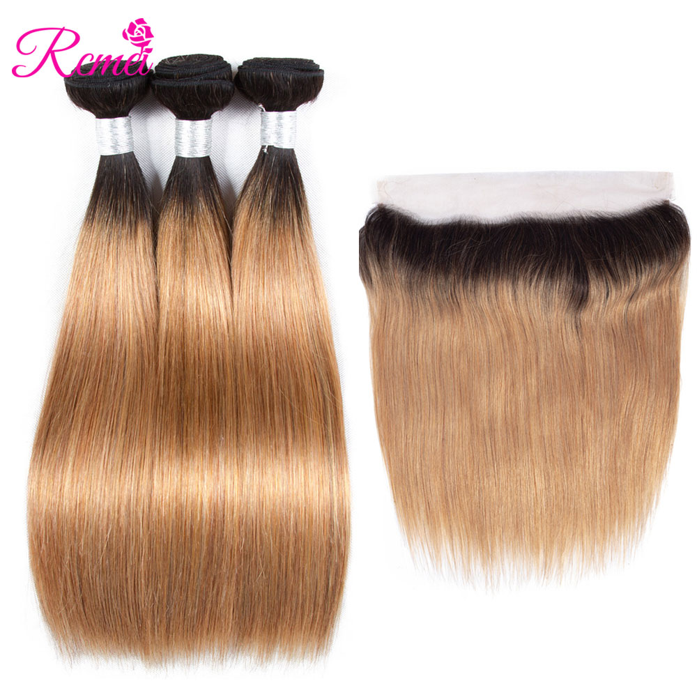 Rcmei Ombre Straight Bundles With Frontal Closure T1B 27 3 Bundles With Frontal Brazilian Human Hair