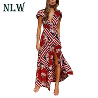 Lily Rosie Girl Print V Neck Women Maxi Dresses 2018 Sexy Split Summer Beach Long Dress