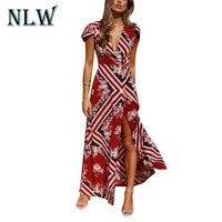Lily Rosie Girl Print V Neck Women Maxi Dresses 2018 Sexy Split Summer Beach Long Dress