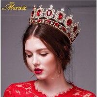 Mansati Luxurious Big Round Crown Red Rhinestone Gold Crowns and Tiaras Wedding Bridal Crystal Tiara Queen Crown Head Jewelry
