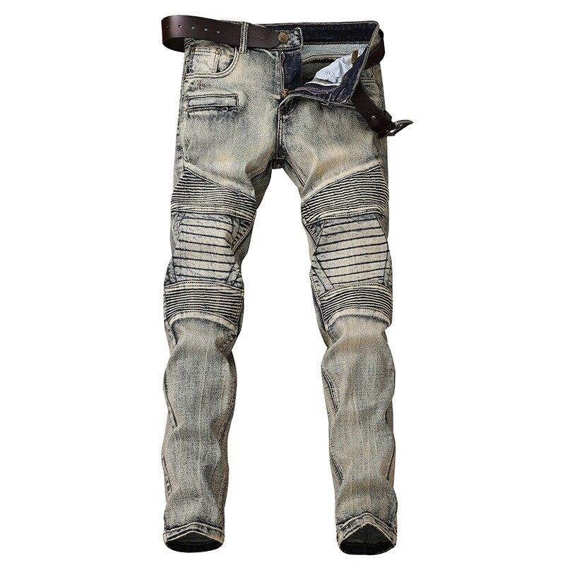 Biker Jeans Men's Distressed Stretch HipHop Slim Fit  Punk Denim Jeans Street Wear Trousers