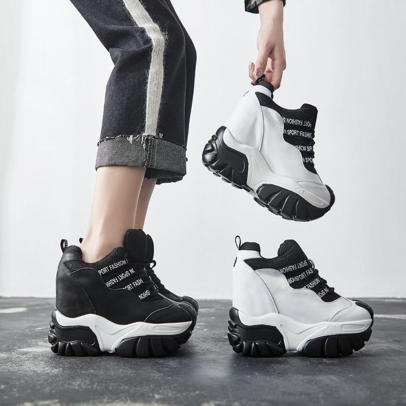 SWYIVY noir chaussures femmes baskets chaussures de loisir blanches respirant femme augmentant Wedge Chunky talons baskets 2019 nouvelle lettre