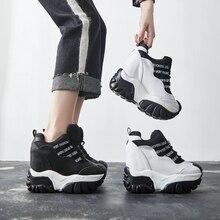 Swyivy preto sapatos femininos tênis branco sapatos casuais respirável feminino crescente cunha de saltos grossos tênis 2019 nova carta