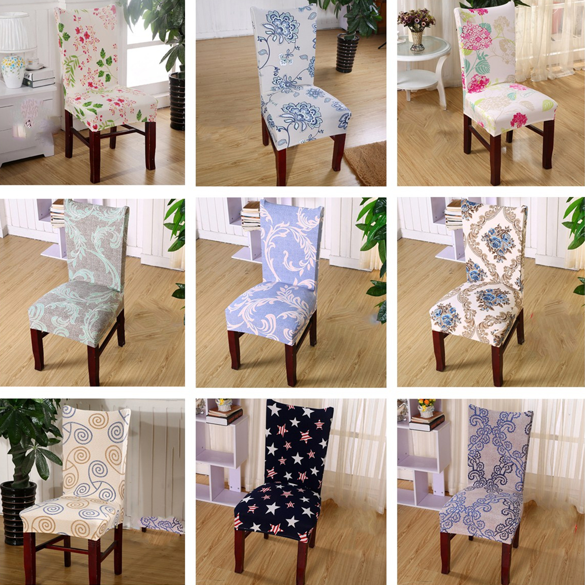 Vintage flowers Printing Dining Chair Cover Removable Elastic Banquet Folding Dining Room Chair Cover For Modern Kitchen Chair