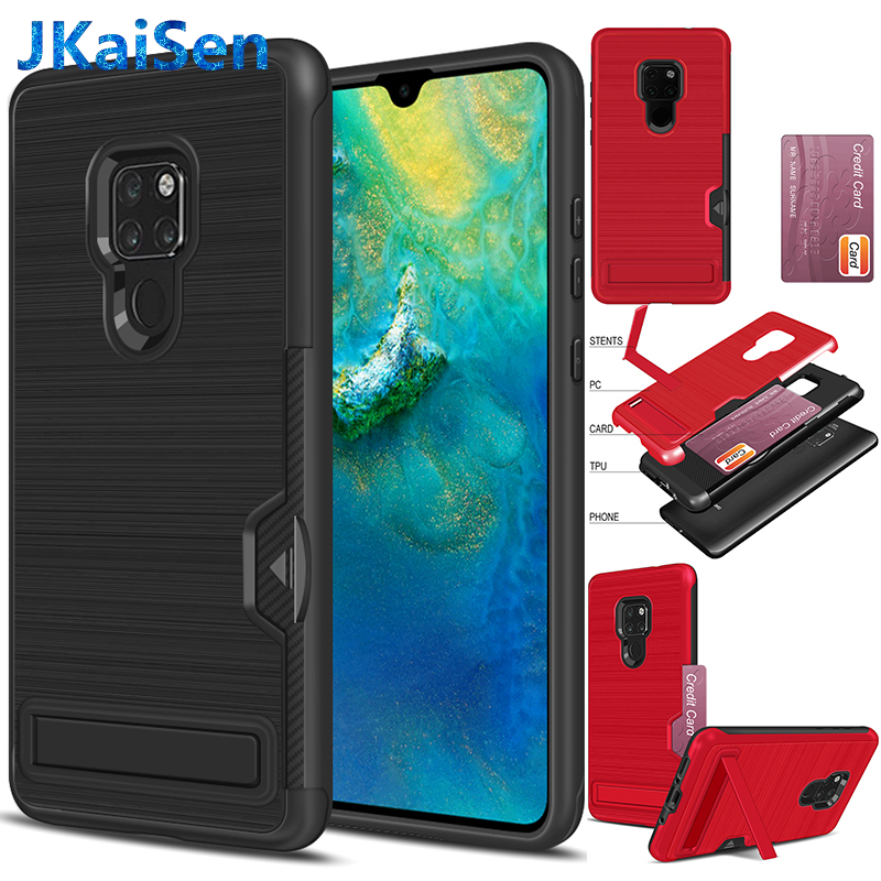 For Huawei Mate 20 Pro Wallet Case Card Slot Holder Cover Dual Layer Heavy Duty Protective Card Cover Coque Fundas