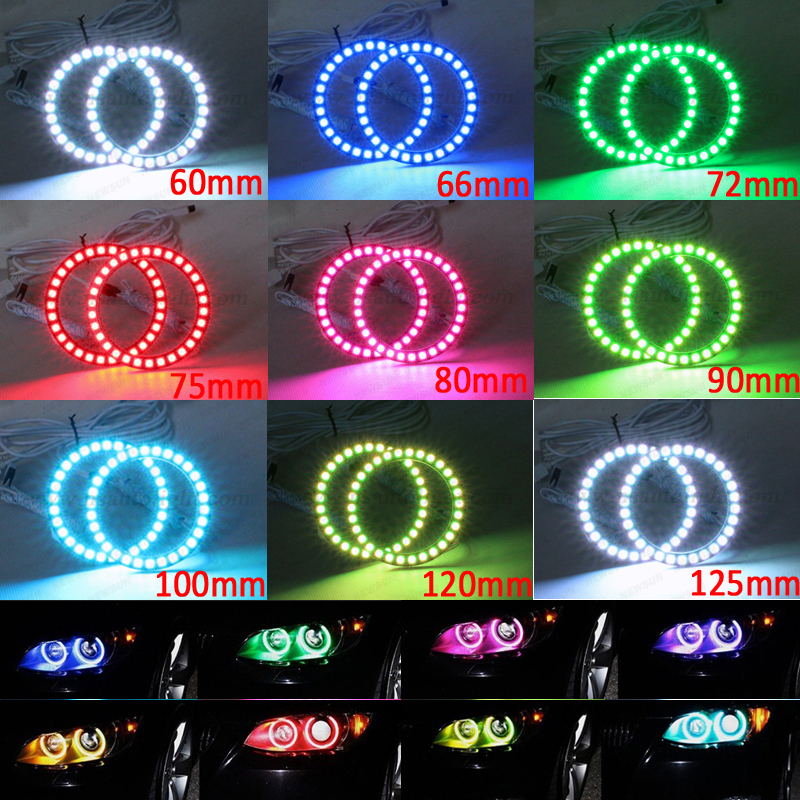 Free ship 60mm 66mm 72mm 75mm 80mm 90mm 100mm 120mm 125mm RGB ANGEL EYES LED Changeable RGB 5050 Flashing Halo Rings Remote Kit