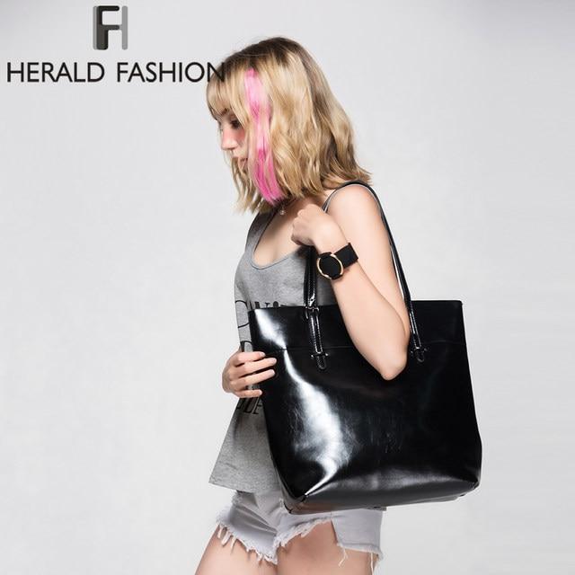 2ba1f8bd1 Alta Qualidade Saco De Couro Das Mulheres Balde Bolsas de Ombro Sólidos Grande  Bolsa Grande Capacidade Top-handle Bags Herald Moda Novo chegadas